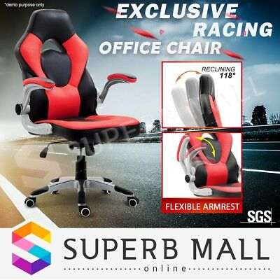 PU Leather Executive Computer Office Chair Ergonomic Gaming Racer Recliner Seat