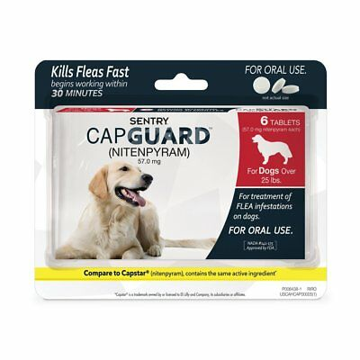 SENTRY Capguard (nitenpyram) Oral Flea Control Medication, 25 lbs and Over, 6