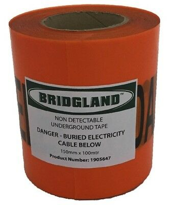 Bridgland NON-DETECTABLE TAPE 150mmx100m Danger Buried Electricity Cable Below