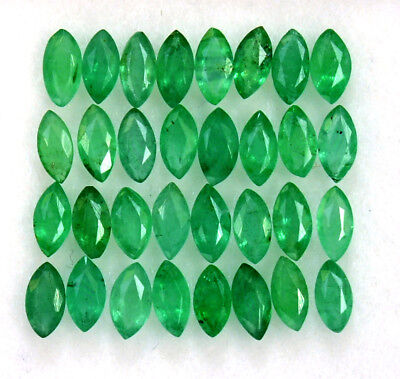 1.55 Cts Natural Emerald Marquise Cut 4x2 mm Lot 20 Pcs Untreated Loose Gemstone