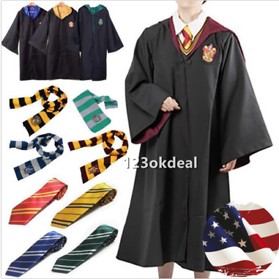 Harry Potter Adult  Hogwarts Child Robe Cloak+Scarf+Tie Set School new Costumes