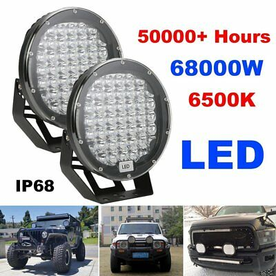 Pair 9 Inch LED Driving Lights Round Off Road Spotlights Auto LED Work Lamp