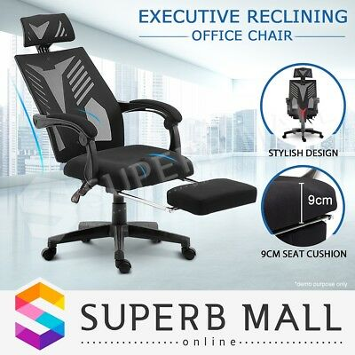 Executive High Back Office Computer Chair Mesh Recliner Seat Work with Footrest