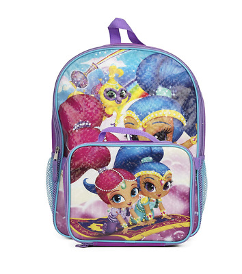 """Shimmer and Shine Backpack School Book Tote 16"""" with Detachable Lunch Bag Set"""