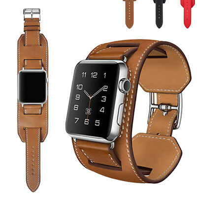 Cuff Leder Armband Ersatz Für iWatch Apple Watch Series 4/3/2/1 40/44/38/42mm DE