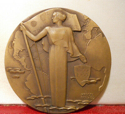 1955 Art medal 100 Years of CGT FRENCH LINE Ships