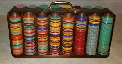 Bakelite/Catalin Poker Chip Multi-Color Set, Approx. 1000 Pieces w/ Wooden Caddy