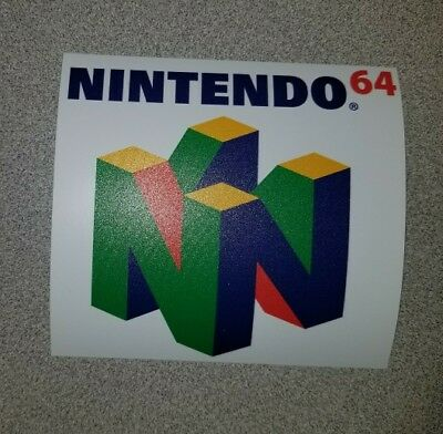 Nintendo 64 logo sticker. 4  x 4.5. (Buy 3 stickers, GET ONE FREE!)