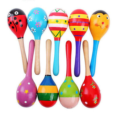 Baby Kids Wooden Maracas Rattle Hand Shaker Toy Musical Education Instrument UK