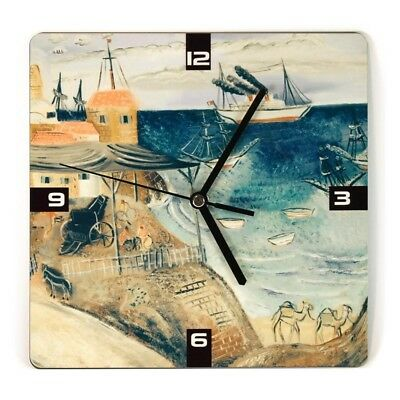 Old Jaffa Port by Reuven Rubin Square Wooden wall Clock, Made in Israel