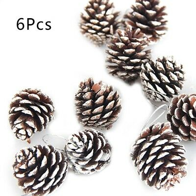 6Pcs Pine Cones String Pendant Natural Wood Christmas Tree Decor Home DIY Craft