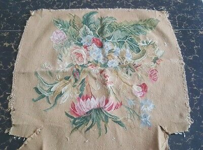 Antique 19th centur Aubusson French hand woven tapestry chair cover panel 24x25""