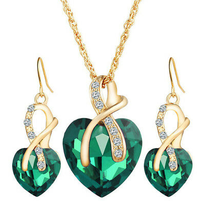 Crystal Heart Necklace Earrings Jewellery Set for Women Bridal Wedding Party LH