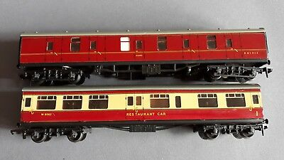 Hornby Dublo Br Buffet + Full Brake Very Good Condition Unboxed Oo Gauge(Jl)