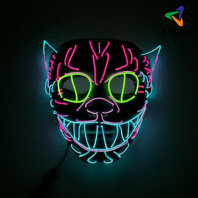 Halloween Party EL Wire LED Cosplay Glowing Cat Maske Mask Festiva Decoration DE