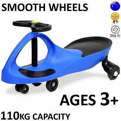 New KIDS SWING PLASMA WIGGLE CAR Swivel Slider Ride On Toy Stable Scooter Blue