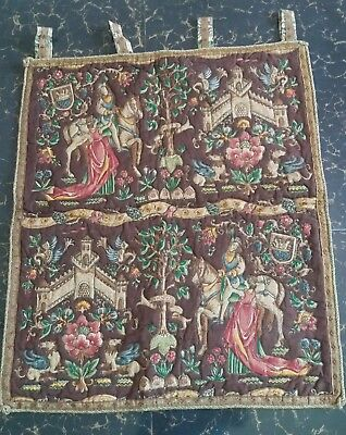 "Antique 19c Aubusson French print Tapestry Beautiful   size 27""x24""(cm68x61)"