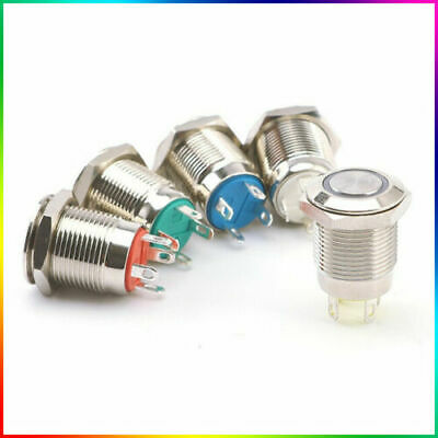 12V Momentary Metal Switch Horn Push Button - 12mm Boat LED IP67 Waterproof