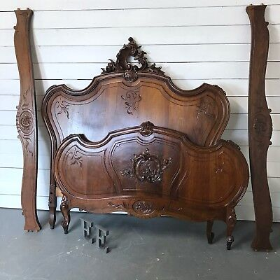 Beautiful French Louis XV double bed, solid walnut Antique double bed