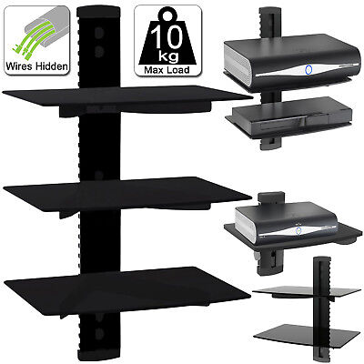 1-3 Tier Black Floating DVD Player Glass Shelf Game Console Sky Box Wii XBOX PS3