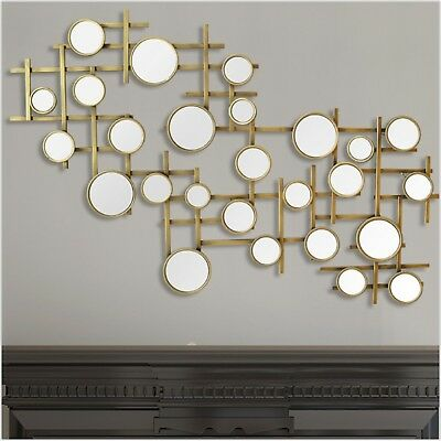 LARGE MODERN CONTEMPORARY Abstract Metal Mirror Wall Art Sculpture ...