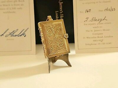 **RARE** St.James House Company London Silver Gilt Clock Book Locket Stand Box