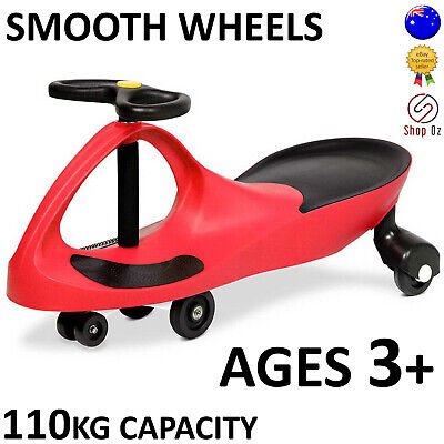 New KIDS SWING PLASMA WIGGLE CAR Swivel Slider Ride On Toy Stable Scooter Red