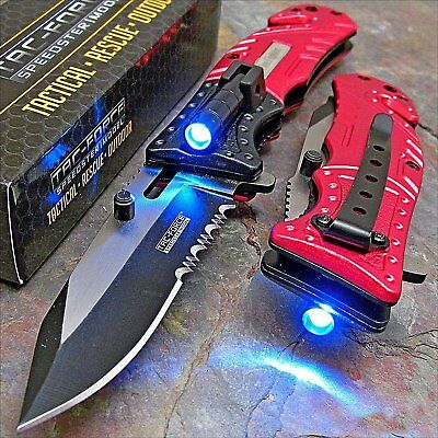 TAC-FORCE Red SHERIFF Spring Assisted Open LED Tactical Rescue Pocket Knife USA