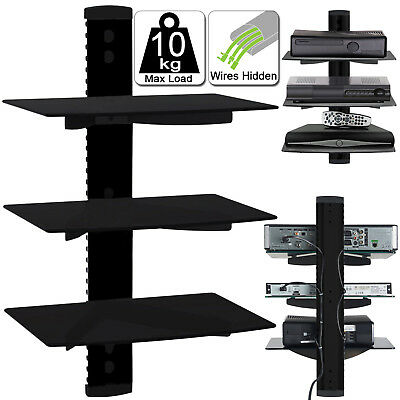 3 Tier Floating Glass Wall Mount Shelves For DVD Player SKY Box TV Game Console