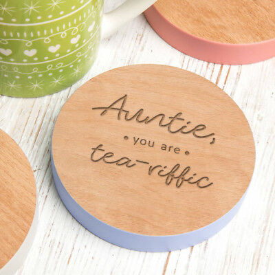 Personalised Best Auntie Gift Wood Coaster Xmas Christmas Birthday Present Idea
