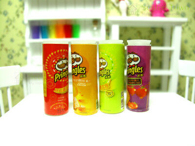 4pcs Dollhouse Miniature Chips Potato Food Grocery Snack Jars Accessory Re-ment