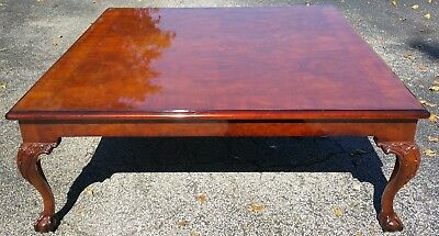 Large Karges (Model 227) Queen Anne Carved Walnut Claw & Ball Coffee Table 48""