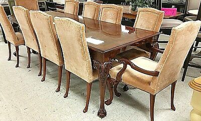 Set of 10 Karges Queen Anne Carved Walnut Dining Chairs TABLE LISTED SEPARATELY