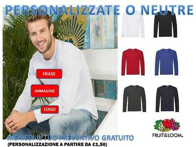MAGLIETTA UOMO MANICA LUNGA FRUIT OF THE LOOM light COTONE PERSONALIZZABILE.