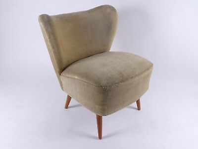 MID CENTURY EASY CHAIR COCKTAIL SESSEL MOHAIR 50er JAHRE 50s BEIGE