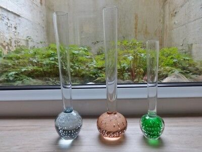 Collection of 3 vintage controlled bubble glass bud vases vase (ref.C)