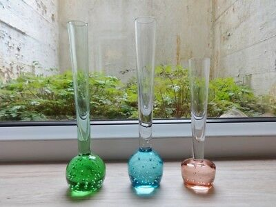 Collection of 3 vintage controlled bubble glass bud vases vase (ref.B)