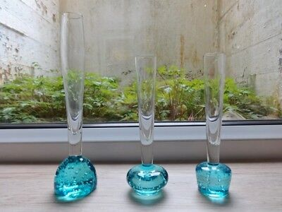 Collection of 3 vintage controlled bubble glass bud vases vase (ref.E)