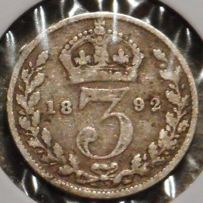 British Silver Threepence - 1892 - Queen Victoria - $1 Unlimited Ship