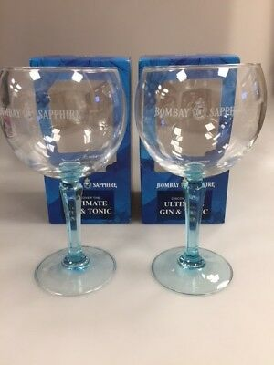 2 Bombay Sapphire Balloon Glasses. Boxed. Bar Gin Glass.