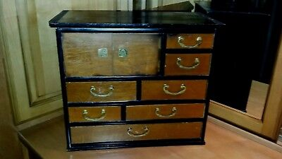 """Japanese Antique Tansu Jewelry Box Large 16 3/4""""By 14 1/2""""Tall 8""""Deep"""