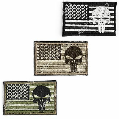 Punisher Skull Usa Army Flag Morale Embroidered Tactical Abzeichen Patch BS3