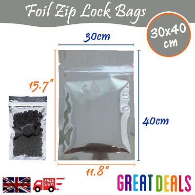 30x40 cm - Clear Silver Zip Lock Aluminium Foil Bag Food Grade Resealable Pouch