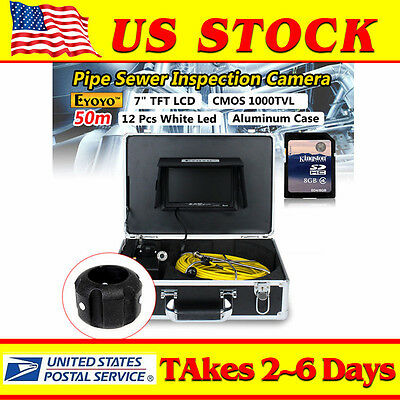 """Eyoyo 7"""" LCD 50M/164ft Pipe Pipeline Inspection Camera Drain Sewer Endoscope 8GB"""