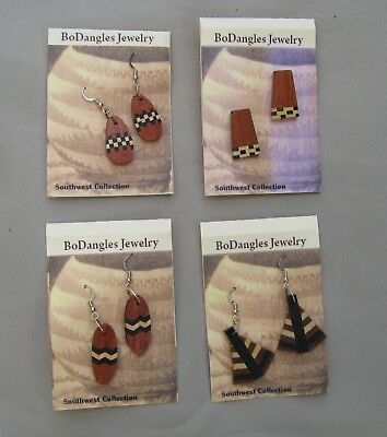 Earrings set wholesale lot 4 pair exotic wood NEW BoDangles Southwest Collection