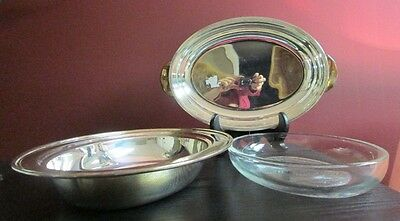 VTG SILVER PLATE OVAL Serving Dish Handles Lid & Glass Insert VIKING EP COPPER!