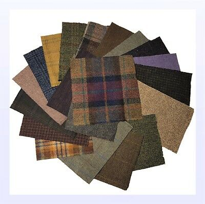 "British Tweed 60 Pieces 100%Wool 15x15cm 6x6"" Remnants Offcuts Craft *Not Harris"