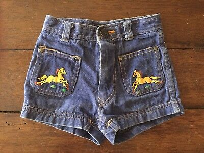 Toddler Baby Girls Vintage Denim Jean Embroidered Horse Shorts 70s 80s