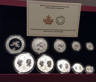 1819-2019 Bicentennial Celebration Maple Leaf Fractional Set 5Coins Silver Proof