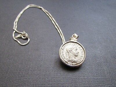 NILE  Ancient Egyptian Roman Period Silver Coin Pendant Necklace ca 100 AD